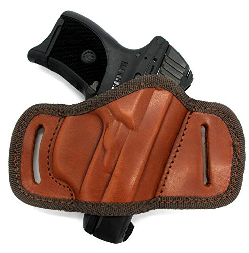 Right Hand Brown Leather Open Top Quick Draw Belt Slide Holster for Ruger LC9, LC9S, LC380, EC9S