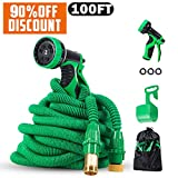 PatioPro Garden Hose Set All New Water 3/4 Solid Brass Fittings Flexible Expanding,A Hanger and A Storage Bag, 100FT, Green