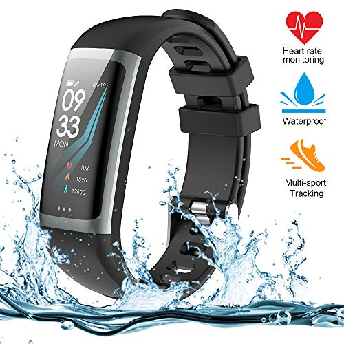 TEAMYO Activity Tracker with Heart Rate Monitor, Color Screen with Sleep Monitor, IP67 Waterproof Smart Bracelet for Android and iOS (G26-black)