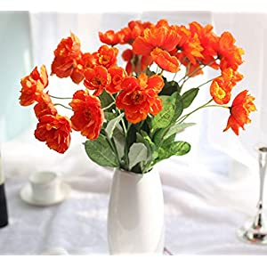 Skyseen 12 Bouquets 2 Heads Artificial Rosemary Poppy Flowers for Home Wedding Party Decor,Orange 9