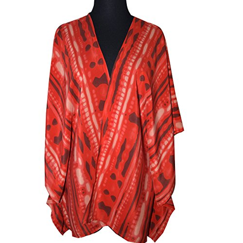 Red Orange Print Crepe de Chine Silk Caftan by Gildargraphics