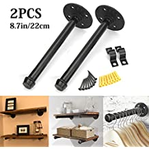 KINGSO 2PCS 8.7'' Industrial Black Iron Pipe Shelf Brackets, Steampunk Decor Floating Shelves Hardware, Retro Wall Mounted shelving brackets, with screws.