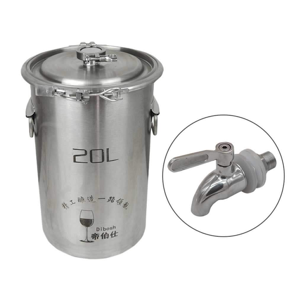 304 Stainless Steel Fermenter Fermentation Barrel Home Brew Wine Beer Fermenters 20L with Faucet