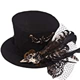 Search : Jackdaine Steampunk Hemp Feather Headdress Banquet Ball Hair Accessories Small Hat