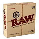 RAW RAWTHENTIC UNREFINED 5''x5'' PARCHMENT PAPER BOX(500 LEAVES) UNFLAVORED FLAVOR PACK OF 1