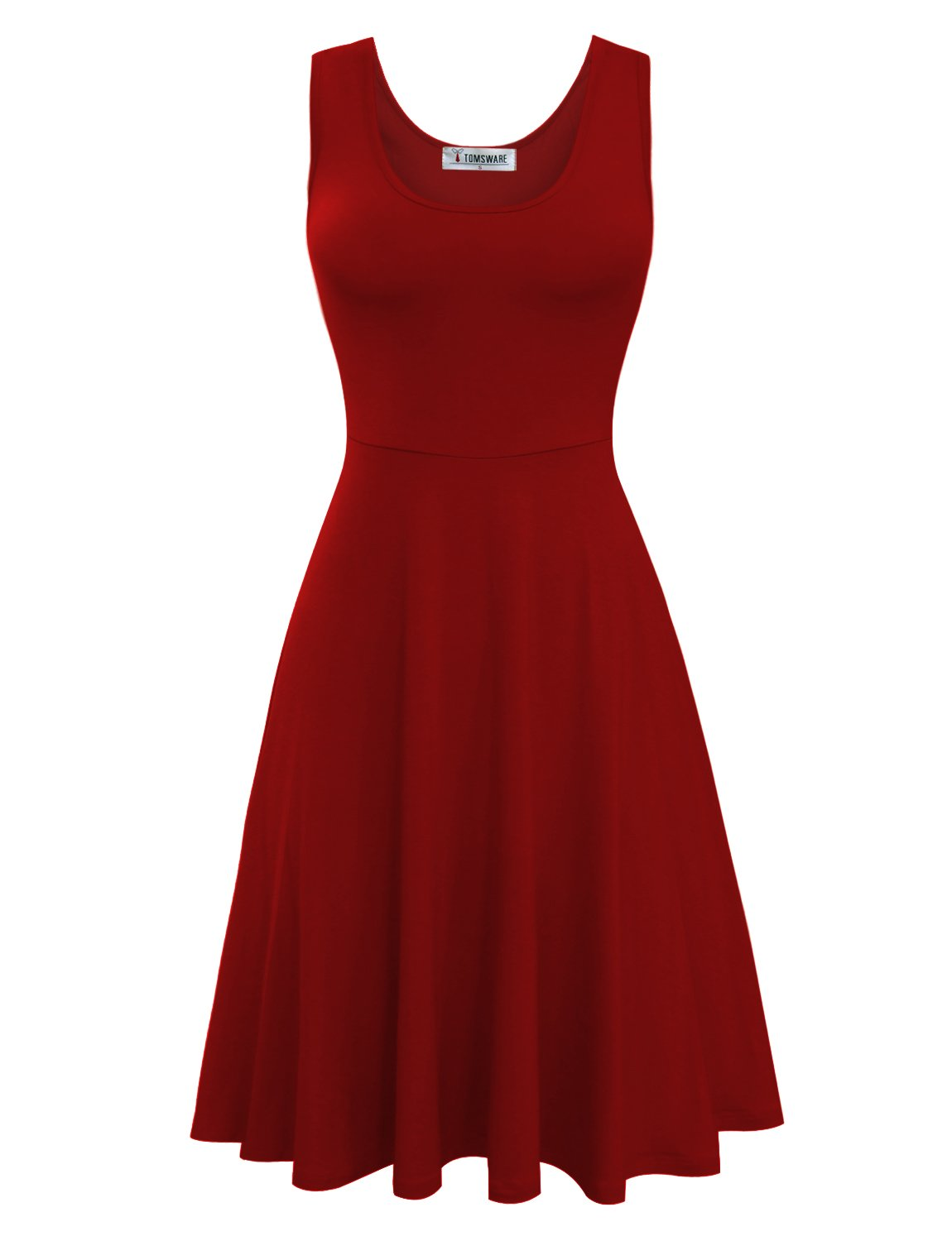 Tom's Ware Womens Casual Fit and Flare Floral Sleeveless Dress TWCWD054-D155-DARKRED-US S