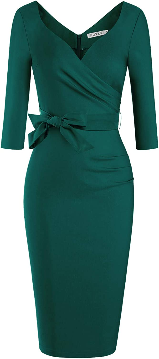 MUXXN Women's Classic Retro V Neck Half Sleeve Sheath Formal Juniors Dress