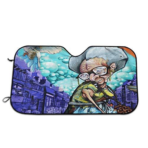 MONTREAL CANADA APRIL 07_ Street Art Grandma On April 07, 2014 In Montreal Canada Car Windshield Sunshade - Foldable Nylon Wind Shield Sun Shade - Visor Heat Shield Protector - Keeps Out UV Rays - Pr (Baroque Montreal Band)