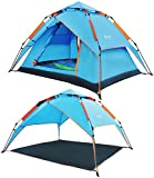 REDCAMP 2 3 Person Automatic Tent for Camping, Instant Waterproof Tent, 3 Season Two-Function Camping Tents with Sun Shelter,Blue