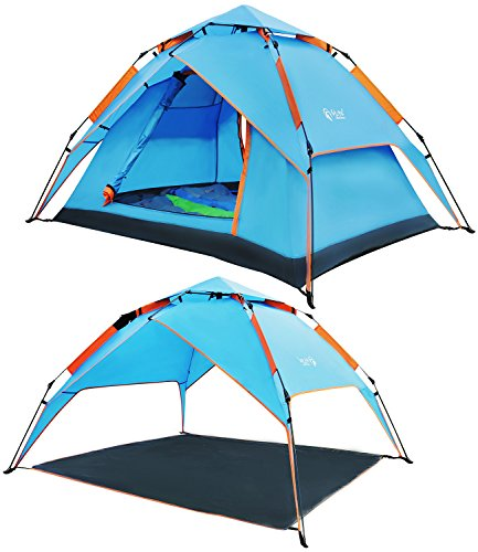 (REDCAMP 2-3 Person Instant Tent for Camping, Waterproof Automatic Popup Tent 3 Season for Family Outdoor Backpacking Travel, Blue)