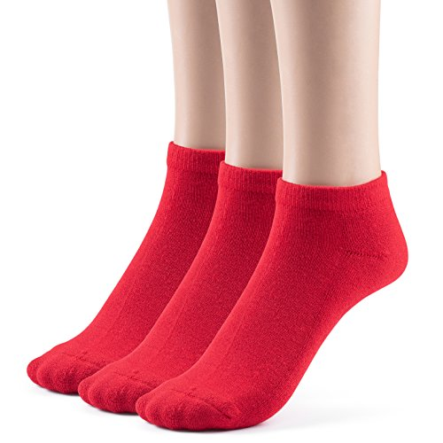- Silky Toes Kids Bamboo Low Cut Cushioned Socks (Medium (8-9), Red (3 Pairs))