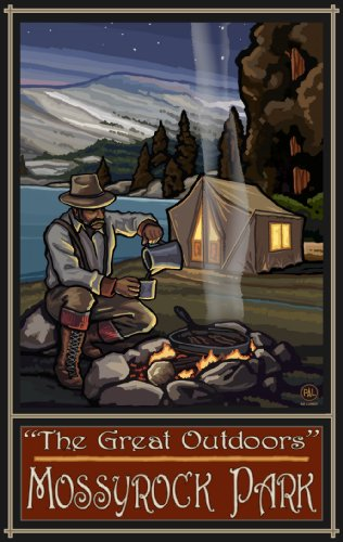 Northwest Art Mall The Great Outdoors Mossyrock Park Lake Tent Camper Unframed Poster Print by Paul A. Lanquist, 11-Inch by - The Lakes Great Mall