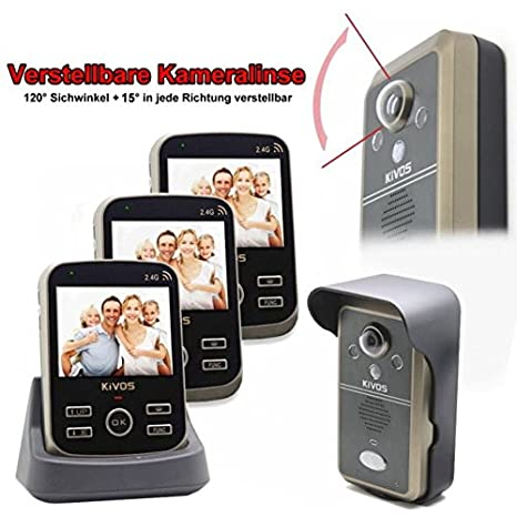 Radio Manos – Interfono Videoportero Timbre Kivos 302 A ajustable cámara lente imágenes Memoria Sensor