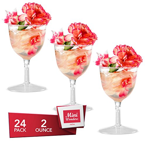 MINI WONDERS Heavy Duty Plastic Clear Single Serve Wine Goblet Cup 2 oz Cocktail Dessert Cups 24 Count Toast Shot Shooter Glasses Disposable Reusable Party Bowls (Mini Cocktail Glasses)