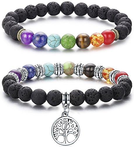 ead Diffuser Bracelet for Men Women Aromatherapy Chakra Tree of Life Charm Yoga Stress Relief Bracelets (2 Pcs Colored) (Colored Stone Bracelet)