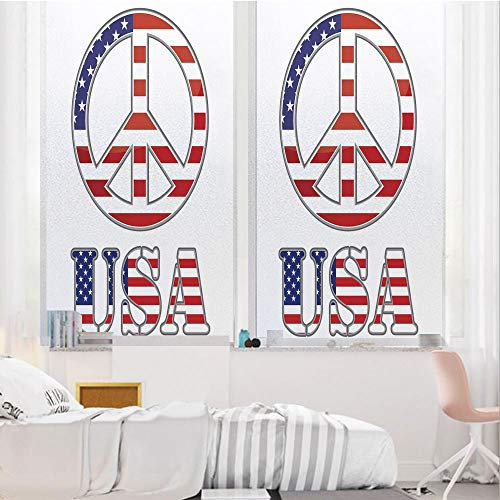 Groovy 3D No Glue Static Decorative Privacy Window Films, Modern Peace Sign USA Flag Color Design Hippie Freedom No War Symbol Theme Decorative,24