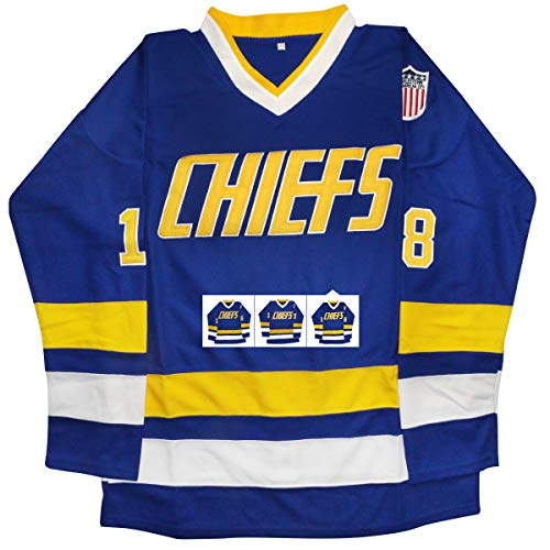 - vinking Hanson Brothers Jersey, Charlestown Chiefs 16,17,18 Slap Shot Ice Hockey Jersey (18 Blue, M)
