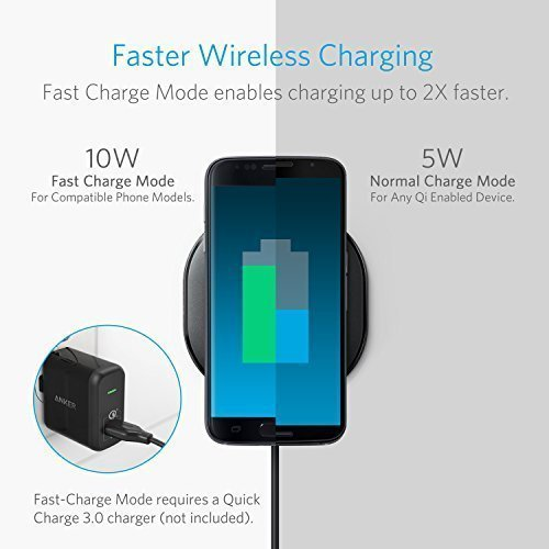Anker Wireless Charger Charging Pad for iPhone 8 / 8 Plus, iPhone X, Nexus 5 / 6 / 7, and Other Devices, Provides Fast-Charging for Galaxy S8/ S8+/ S7 / S7 edge / S6 edge+, and Note 5