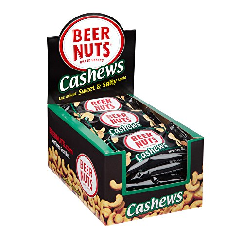 BEER NUTS Cashews | 24 Pack Box - 1 oz. Individual Bags - Sweet and Salty (Beer Mood)