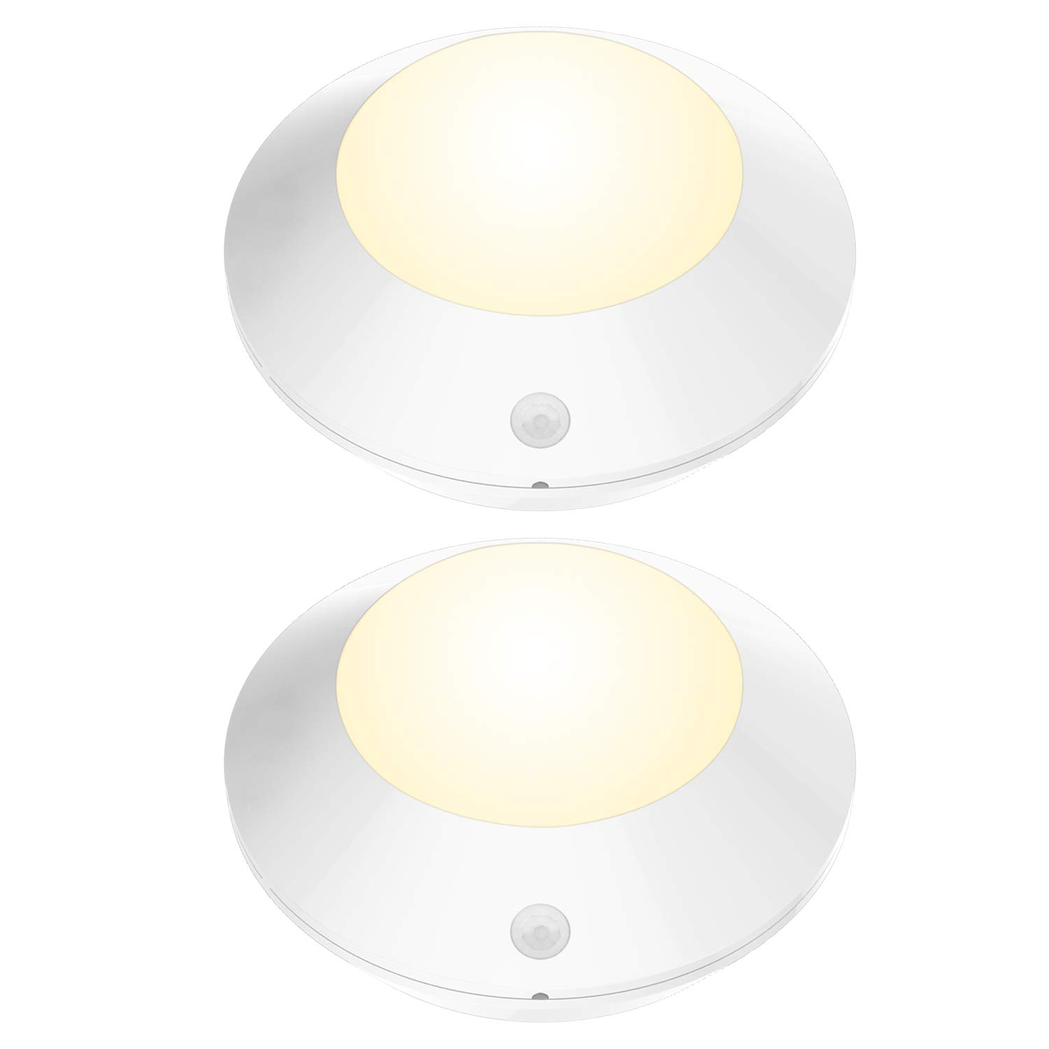 BIGLIGHT Wireless Battery Operated Bright LED Motion Sensor Shower Light, Cordless Motion Lights for Hallway Ceiling Closet Pantry Entrance Hall Corridor Shed, 5 Inch, 250 Lumens, Warm White - 2 Pack
