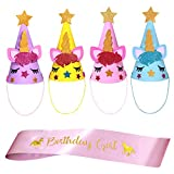 FZR Legend Unicorn Birthday Party Supplies - Gold Unicorn Horn Headband and Pink Satin Birthday Sash for Girls + Adult | Sparkling Unicorn Party Favors Decorations - Set of 5