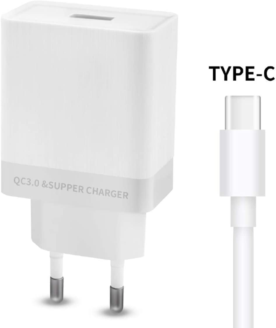 BEISK, Super Cargador USB Pared + Cable Tipo C, Súper Rápida, 4.5A, Enchufe Europa para Android, Samsung S10/S9/S8/Note, Huawei P30/P20/Mate20, Xiaomi, Motorola, LG, Etc. Blanco