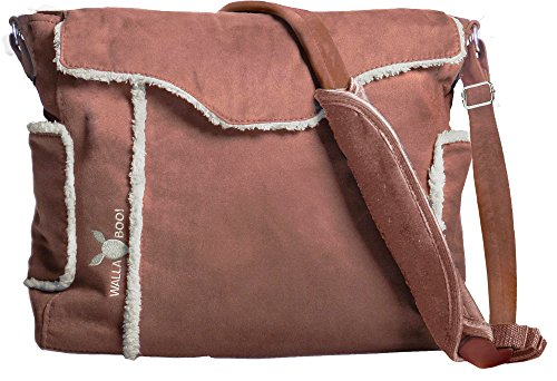 Wallaboo Essential Diaper Bag Durable Faux Suede, Chocolate