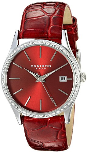 Akribos XXIV Women's AK883RD Round Red Dial Three Hand Quartz Stainless Steel Strap Watch