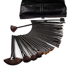 Makeup Brushes, Makeup Brush Set, KLAREN 32 PCS Handmade Natural Synthetic Bristle Wooden Handle Cosmetics Foundation Eyeliner Mascara Eyeshadow Face Powder Blush Lipstick Makeup Brushes (Black)