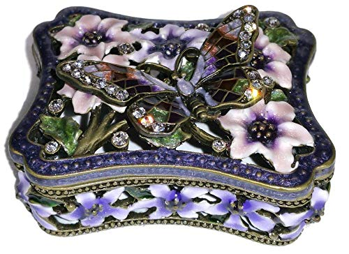 Welforth Jeweled Purple Butterlfy & Lavender Flower Enamel Rectangle Trinket Box ()