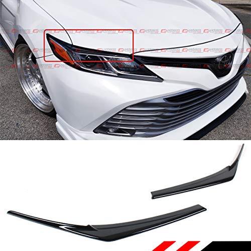 Cuztom Tuning FITS for 2018-2019 Toyota Camry LE XLE SE XSE Hybrid Glossy Black Headlight Eyelid Eye LID Cover Eyebrows