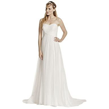 David\'s Bridal Swiss Dot Tulle Empire Waist Soft Wedding Gown Style ...