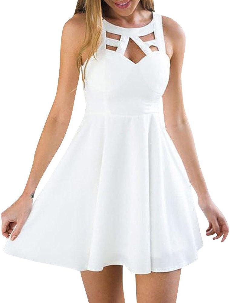 Snowfoller White Dress Women Sleeveless Hollow Back Lace Mini Dress Summer Beach Short Mini Dress A-Line Sundress