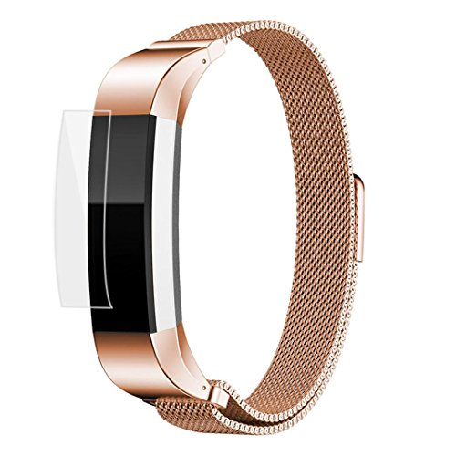 RTYou(TM) Magnetic Loop Watch Band+Protector Film For Fitbit Alta HR (Rose gold) ()