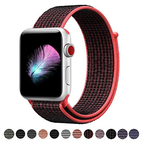 Yunsea For Apple Watch Band, New Nylon Sport Loop, with Hook and Loop Fastener, Adjustable Closure Wrist Strap, Replacment Band for iwatch, 38mm, Red Black