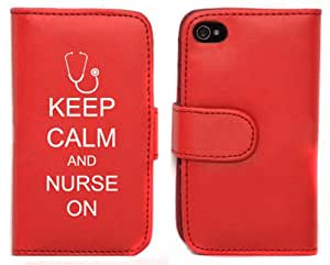 Red Apple iPhone 4 4S LP509 Leather Wallet Case Cover Keep Calm and Nurse On Stethoscope
