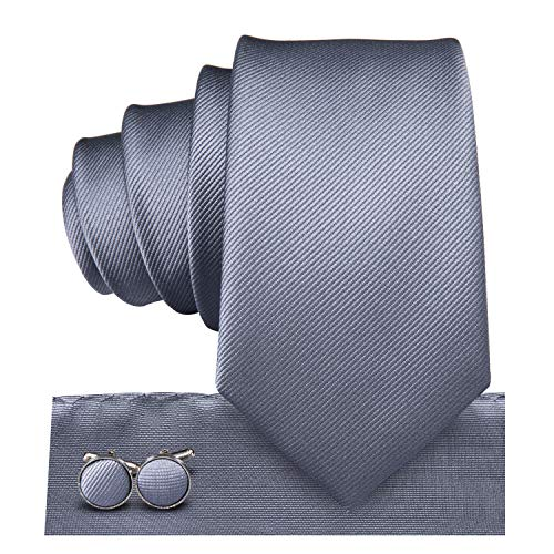 Dubulle Narrow Solid Gray Ties for Men Silk Hanky Wedding Casual