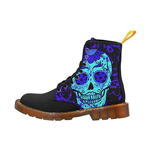 LEINTEREST Fractal Skull blue Martin Boots Fashion Shoes For Women