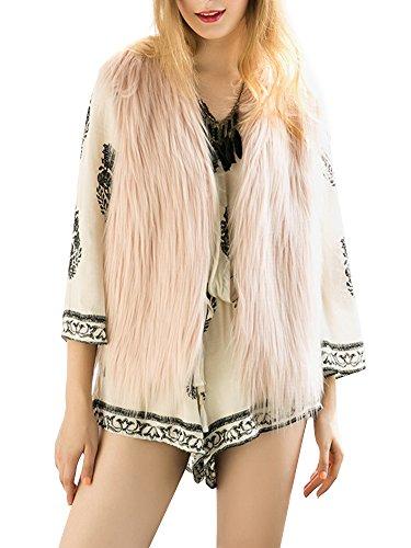 Col Fausse Manteau Rose Casual Outwear Fourrure Veste Femme Automne sans Douche en Manches V Apparel fluffy Gilet Hiver Simplee chaude wHgXaUqPqx