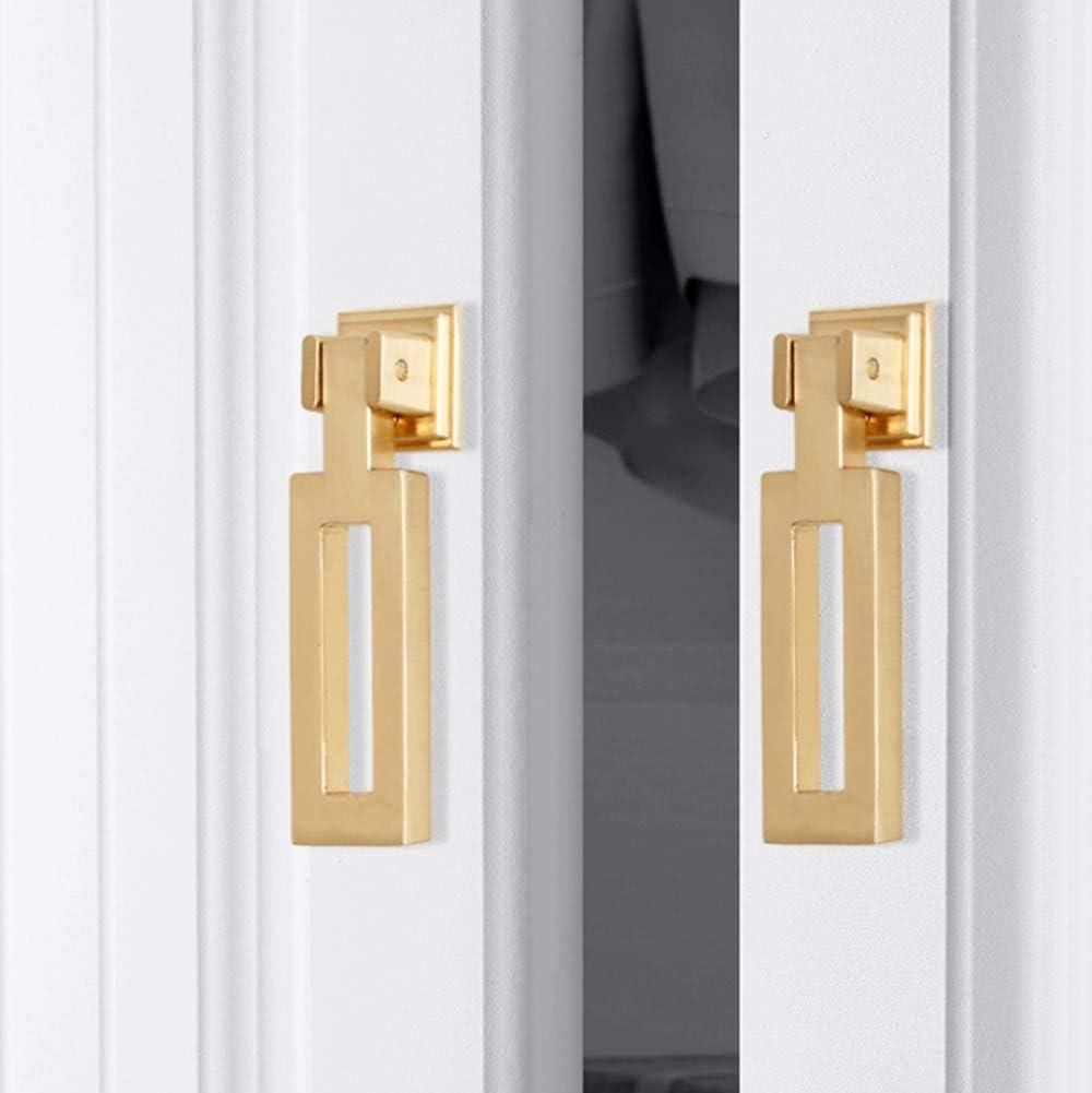 6pcs Gold Color Bronze Alloy Knobs, Kitchen Cupboard Drawer Pulls Kitchen Wardrobe Furniture Handles (12pcs, Narrow Square Shape)