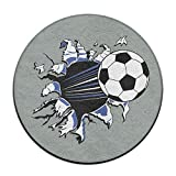 23.6'' Round Area Rug Non-Slip Soccer Football Break The Wall Floor Mat Soft Carpet Home Decorate Office Chair Pile