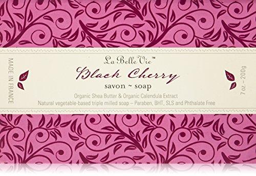 La Belle Vie 100% Pure Vegetable Based Triple Milled Soap, Organic Shea Butter, Calendula Extract,   Black Cherry Bar Soap, 7 oz (200g)