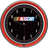 Trademark Global NASCAR Chrome Double Ring Neon Clock, 14-Inch, Black