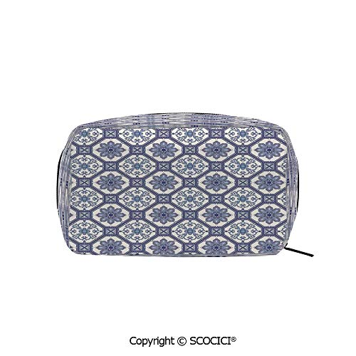 - Rectangle Printed Beauty Cosmetic Bag Pouch Arabesque Floral Oriental Persian Afghan Medieval Baroque Tiles Shapes Tribal Artsy Women fashion Toiletry Travel Bag