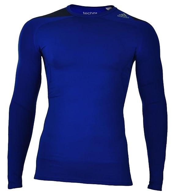 adidas Cool LS P Techfit Climacool Larga Camisa Hombres compresión Estiramiento Azul, Tamaño:M