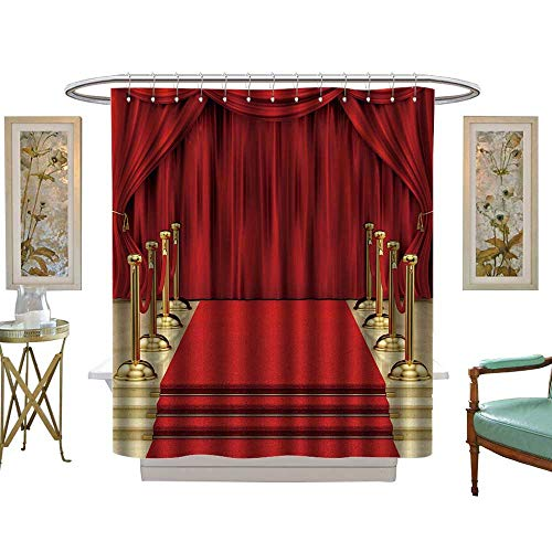 (luvoluxhome Shower Curtain Customized Render of a red Carpet with Gold stanchions and W72 x L72 Patterned Shower)