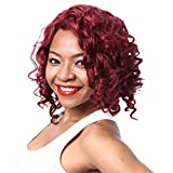 Aibelly Synthetic Wig Sexy Medium Loose Spiral Perms Curly Wine Red Wigs Synthetic