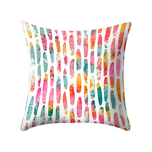 (Fulijie Throw Pillow Cases, Colors Geometric Print Cushion Covers Pillowcase Decor for Sofa Couch Bed Home 18X18 Inch)