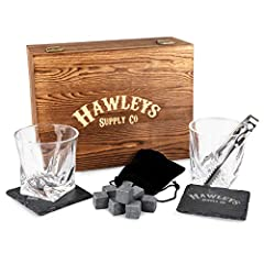 Hawleys Supply Co Premium Whiskey Chilling Stones Glass Gift Set  Crack open a bottle of your favorite fine liquor and enjoy the smooth, crisp taste without it being diluted by water. This premium gift set is created with unmatched quality a...