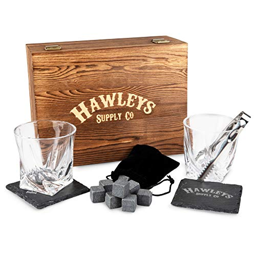 (Whiskey Stones Glass Gift Set - For Scotch, Whisky, Bourbon, or Your Tasting Liquor/Alcohol. Perfect Gifts for Men. Wooden Box, 2 Large Crystal Drinking Glasses, 8 Granite Stone Ice Rocks)